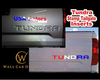 Stamped Tailgate Letter Insert Decals for 2014 15 16 17 18 19 2020 Toyota Tundra Truck Custom USA Color Accent Inlay Inserts Vinyl Sticker