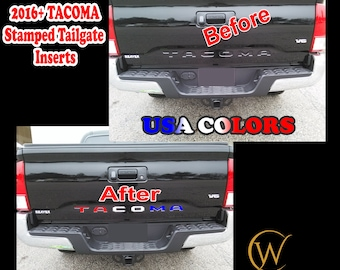 Stamped Tailgate Insert Letters Decals for 2016 17 18 2019 2020 2021 Toyota Tacoma truck USA Custom Vinyl Sticker Lettering Accessories Flag