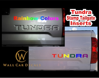Stamped Tailgate Letter Insert Decals for 2014 15 16 17 18 19 2020 Toyota Tundra Truck Custom Rainbow Accent Inlay Inserts Vinyl Sticker