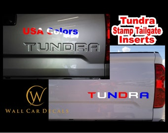 USA Stamped Tailgate Letter Insert Decals for 2014 15 16 17 18 19 2020 Toyota Tundra Truck Custom Color Accent Inlay Inserts Vinyl Sticker B