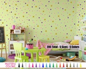 5 Sizes 285 Multi Color Polka Dot Vinyl Wall Decal - 2, 1.5, 1.25, 1, 3/4 inch Circles Girls Boys Bed Room Removable Sticker Custom Decor