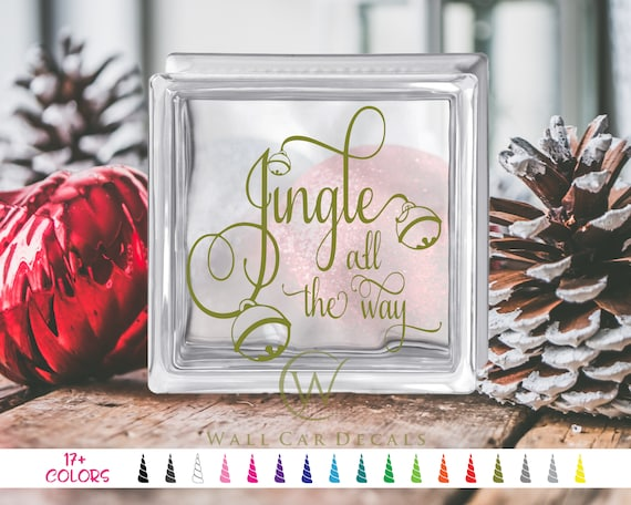 """Let It Snow Christmas Vinyl Decal Sticker for 8/"""" glass block"""