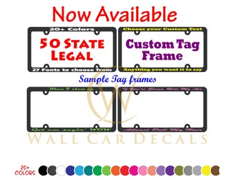 Design Your Own Personalized 50 State Legal Black License Plate Vanity Frame Custom Vinyl Decal Text Car Truck Van Plastic Tag Cover Holder