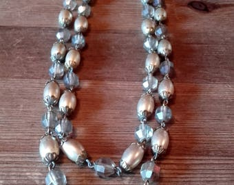 Vintage 50's double strand cream pearl and grey glass necklace