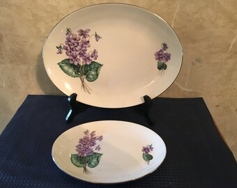 Homer Laughlin Rhythm Violets China Oval Serving Plates