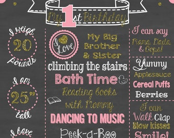 First Birthday Chalkboard Printable Poster Gold Glitter and Pink Theme / Baby Girl / 1st Birthday .pdf or .jpeg