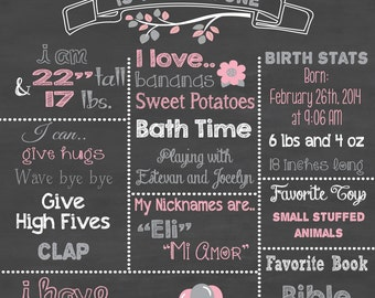First Birthday Chalkboard Printable Poster Elephant Theme / Baby Girl or Boy / 1st Birthday .pdf or .jpeg