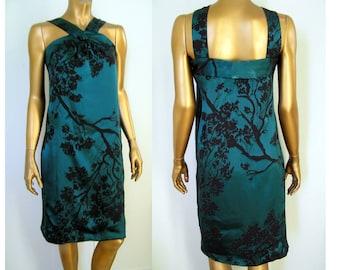 Emerald green black burnout silk halter dress  XS