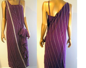 Beaded plum silk roaring twenties flapper Downton Abbey dress XS