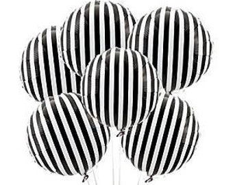 2 black and white striped mylar balloons birthday party balloons zebra balloons
