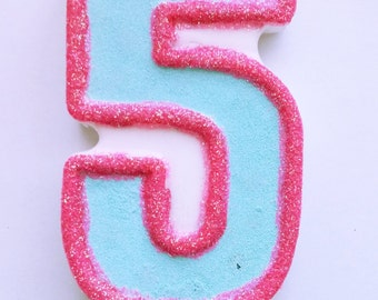 Pink And Blue Glitter Candle 5th Birthday Large Number 5