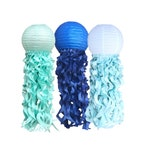Blue Jellyfish Lanterns  Blue Paper Lanterns  Under The Sea Party  Space Party  Baby Boy Shower  Blue Ombre Party  Elephant Baby Shower