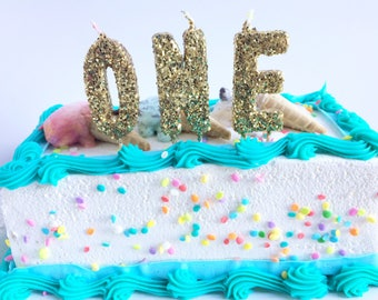Gold Glitter One Birthday Toothpick Candles First Cake Glam