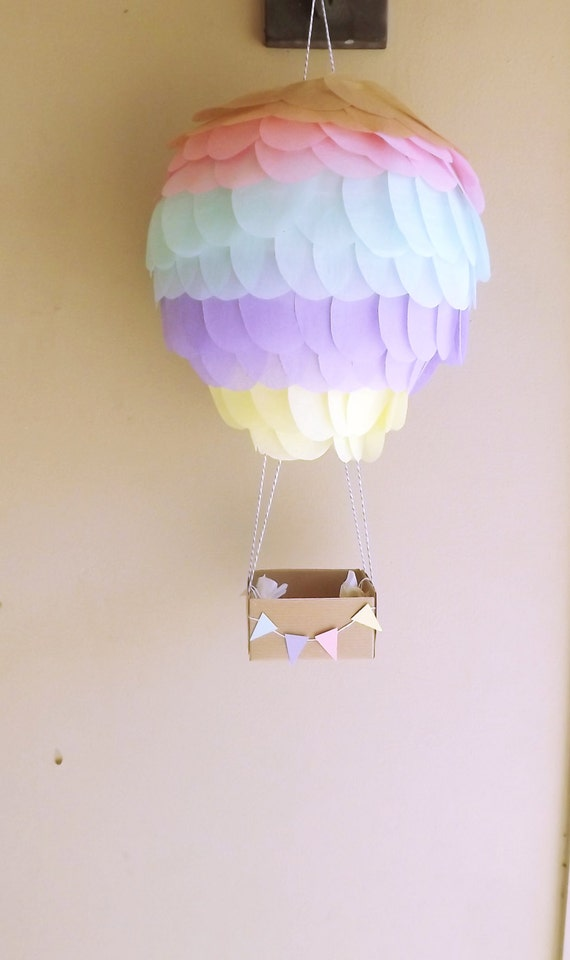 Hot Air Balloon Lantern Decoration Soft Lavender Yellow Pink And