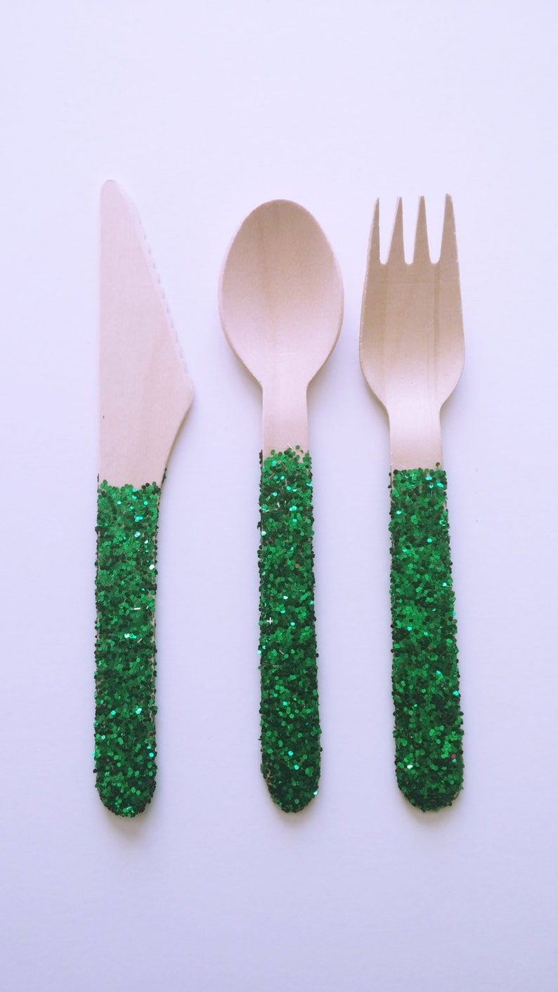 Green Glitter Wooden Fork Knife Spoon Sets Wooden Cutlery Picnic Supplies St Patricks Day Decorations Christmas Decorations Set Of 36