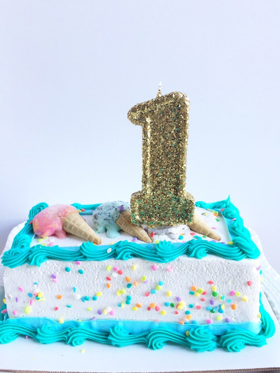 Birthday Party Sparkling Chic Gold Glitter First Birthday Cake