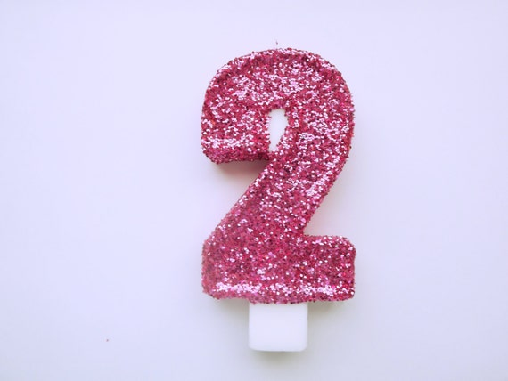 Large Pink Glitter Number 2 Candle Birthday Party