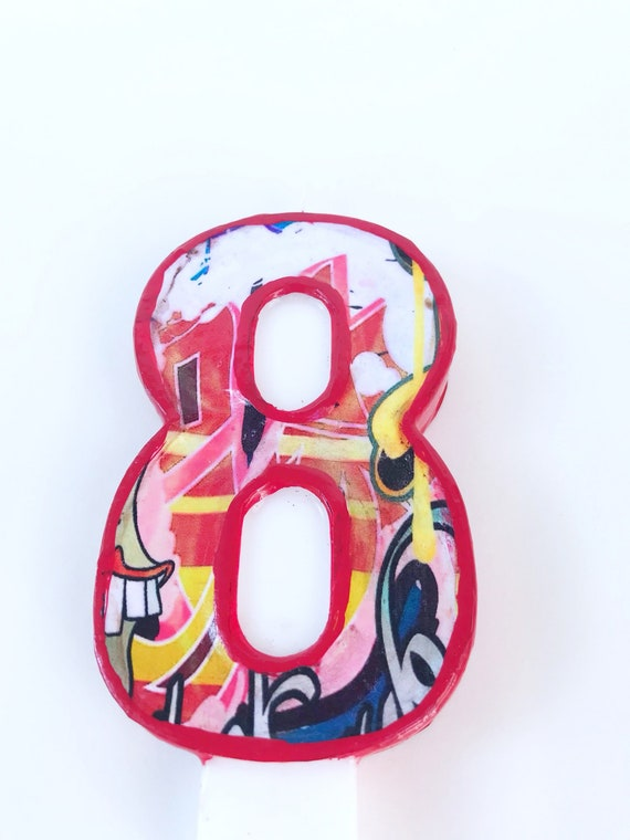Graffiti Number 8 Birthday Candle Hip Hop 80s