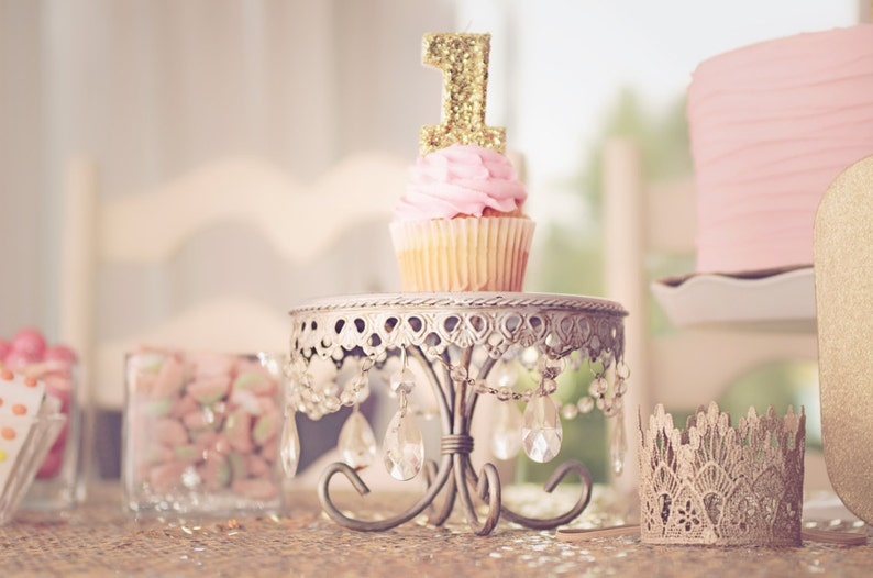 First Birthday Candle Gold Glitter Number One