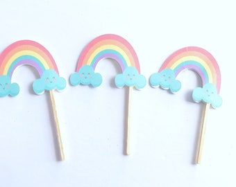 Rainbow Cupcake Toppers Rainbow Party Picks