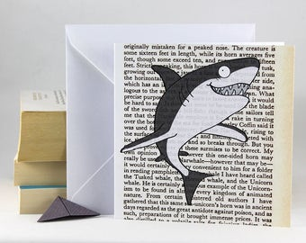 Shark Card With Bookmark Fish Birthday Blank Greetings For Any Occasion Book Lovers Origami