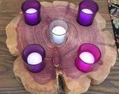 5 Hole Large Round Cedar Wood Advent Wreath