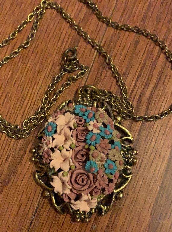 Beautiful Antique Mirror Necklace