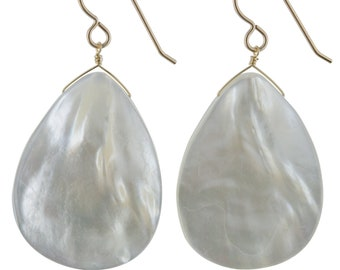 Statement Earrings, 35x25mm Large Mother of Pearl Earrings, Gold or Silver Handmade Dangle White Earrings, Birthday Gifts for Her