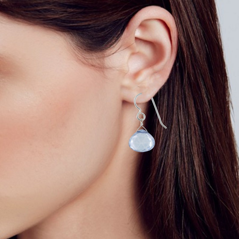 ASHANTI Jewels 925 Sterling Silver Large Gemstone Dangle Earrings Periwinkle Blue Earrings with Light Blue Quartz Unique Gifts