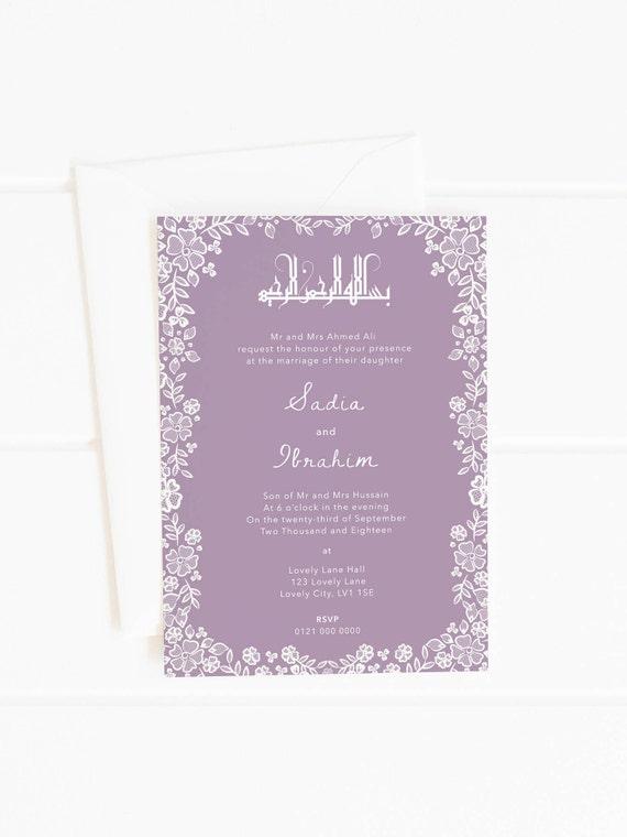 Hochzeit Einladung Nikah Muslim Hochzeitseinladung Nikkah Etsy