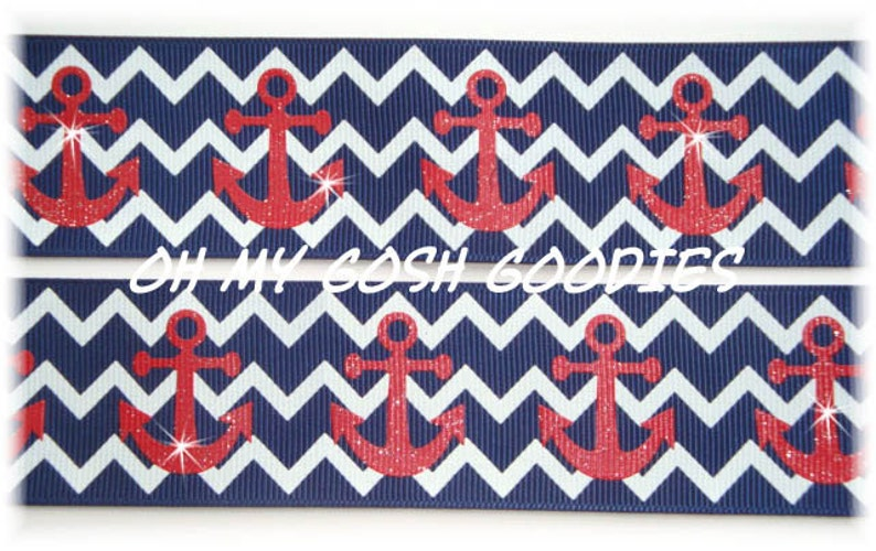 NAVY CHEVRON ANCHORS Grosgrain Ribbon 78 /& 1.5-5 Yards Oh My Gosh Goodies Ribbon