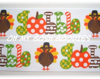 "GOBBLE GOBBLE GOBBLE Turkey Grosgrain Ribbon 7/8"" & 1.5"" - 5 Yards - Oh My Gosh Goodies Ribbon"