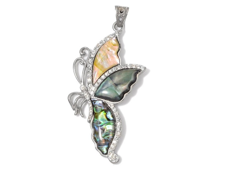 Butterfly Abalone and Mixed Shell Pendant in Silver-tone Without Chain