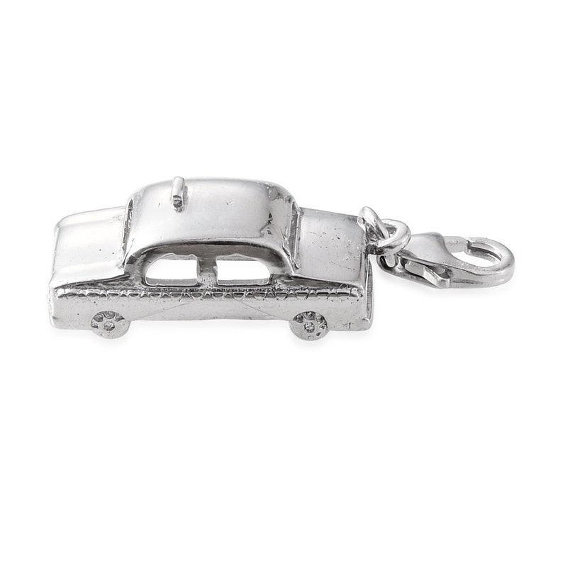 Taxi Cab Charm Pendant Lobster Claw Clasp Stamped 925 Sterling Silver Without Chain 18x9mm