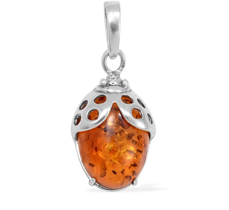 Baltic Amber Oval Cabochon Pendant without Chain in Sterling Silver Nickel Free TGW 1.00 cts.