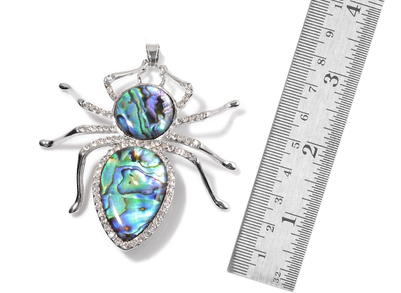 Spider Pendant Abalone Shell Austrian Crystal Silver-tone Silver-Tone without Chain