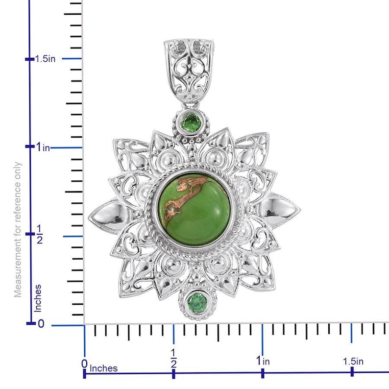 Mojave Green Turquoise 10mm Cabochon CZ Simulated Green Diamonds Platinum Bonded Brass Pendant without Chain TGW 4.50 Cts.