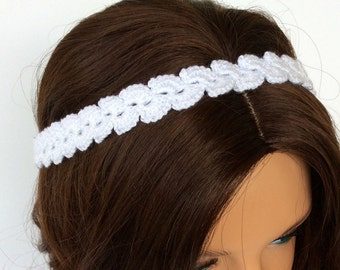 Boho Style White Crochet Headband, Beach Boho Dainty Crochet Headband, Summer Waves Headband for Women or Teens