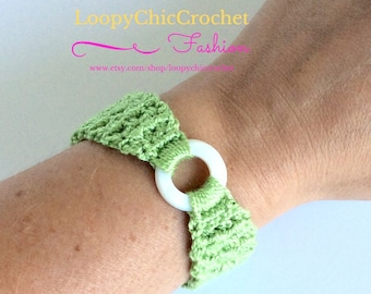 Green Crochet Bracelet with Shell Ring