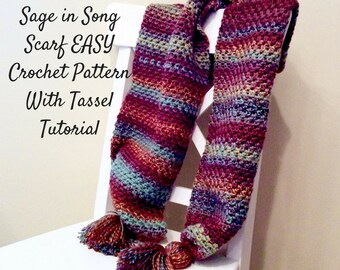 Easy Scarf Crochet Pattern with Tassels tutorial, Warm Winter Scarf Crochet Pattern, Easy Written Crochet Pattern and Photo Tutorial