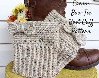 Crochet Pattern Cream Bow Tie Boot Cuff, Easy to Intermediate Boot Cuff Crochet Pattern, Boot Cuff Crochet Pattern and Photo Tutorial