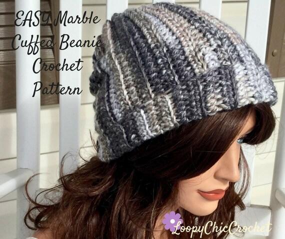 Easy Marble Cuffed Beanie Crochet Pattern Crochet Hat Pattern Etsy