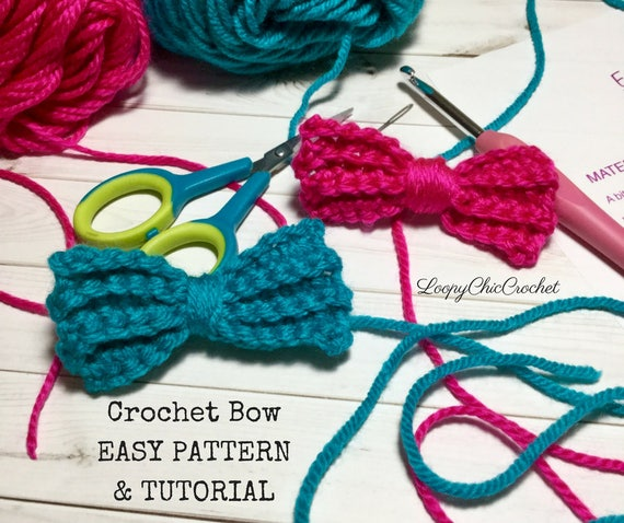 Easy Crochet Bow Pattern Tutorial Crochet Bow Pattern For Etsy