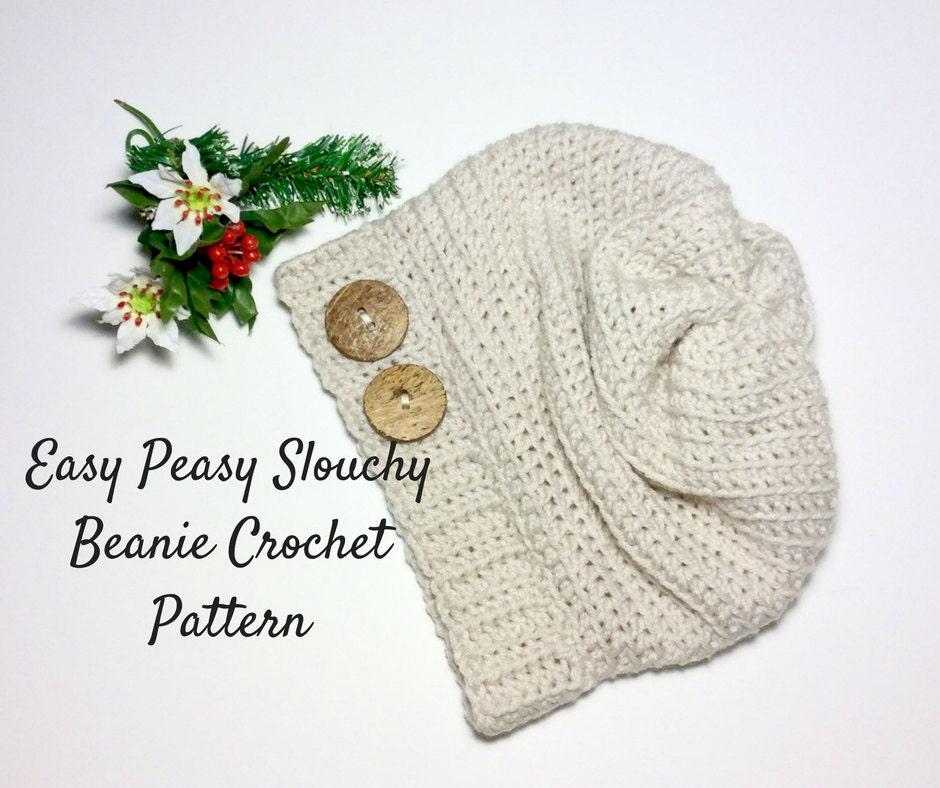 Easy Slouchy Beanie Crochet Pattern Slouchy Hat Crochet | Etsy
