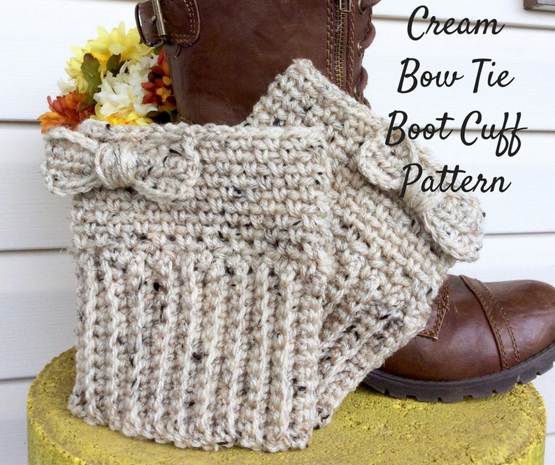 Crochet Pattern Cream Bow Tie Boot Cuff Easy To Intermediate Etsy