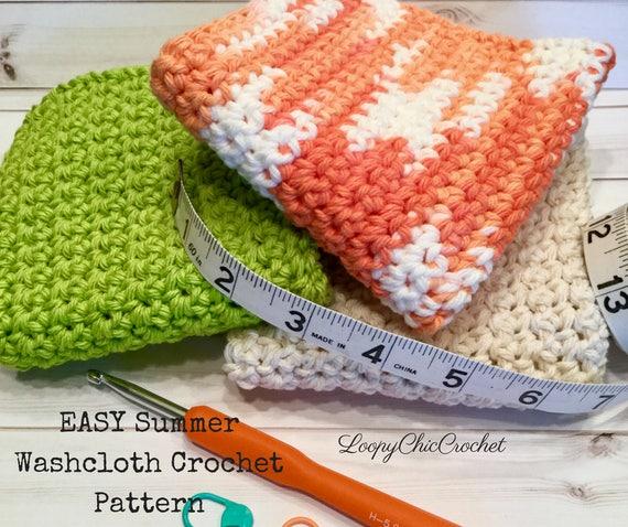 Easy Crochet Washcloth Pattern For Beginners Summer Cotton Etsy