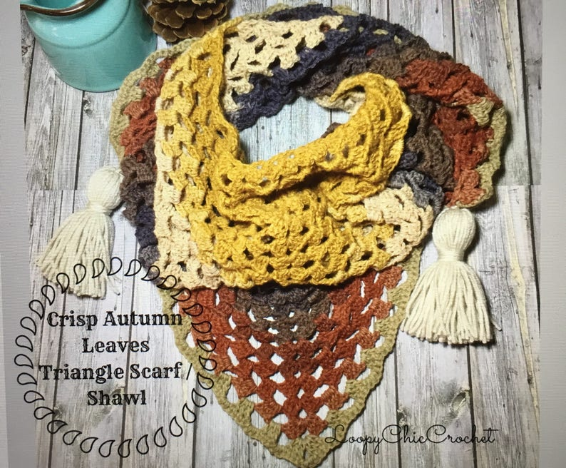 Crisp Autumn Leaves Triangle Scarf or Shawl Crochet Pattern, Fall Crochet  Pattern