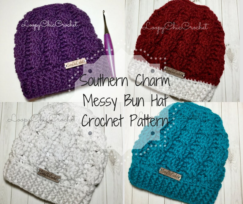 Southern Charm Messy Bun Hat Crochet Pattern and Photo  1ef840794c2