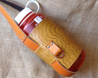 b4d708327b Topo carved Leather Water Bottle holder with crossbody strap - Tan with  Topo carving (water bottle is not included)