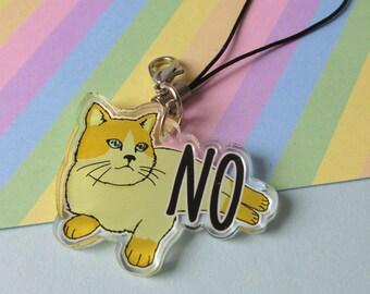 No • Feminist Cat • Phone Strap / Dangler / Charm